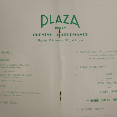 Plaza Theatre Opening Day Programme. | Warwickshire County Record Office reference CR2599/21