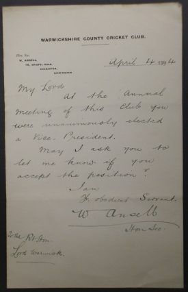 Letter from Warwickshire County Cricket Club to Lord Warwick, advising him he has been elected a Vice-President, 4th April 1894.   Warwickshire County Record Office reference CR 1886/Box833/62.