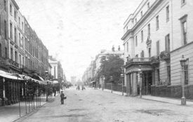 The Regent Hotel on the right, 1870s. Key meetings that led to the formation and direction of Warwickshire County Cricket Club were held here.   Warwickshire County Record Office reference PH84/66.