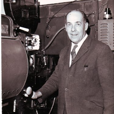 Reg Bull in the projection room of the Scala Cinema.