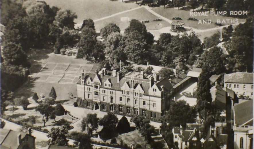 Postcard of Manor House Hotel and Grounds, Leamington Spa, possibly 1930s. It was next to here that the first Lawn Tennis club was formed. | Warwickshire County Record Office reference PH 352/111/158. Photo by Pan Aero pictures.