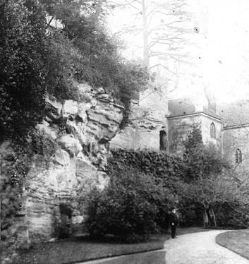 Guy's Cliffe from the river walk, Warwick. 1900s. | Warwickshire County Record Office reference PH534/12