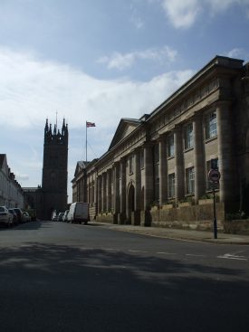 Old Shire Hall, with St. Mary's church in the background. 2014. | Photo by Benjamin Earl