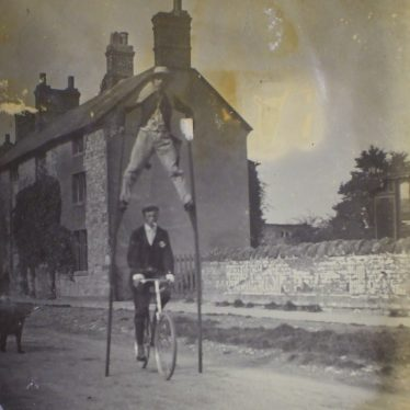 Ivo stilt walking. Kineton, 1905. | Warwickshire County Record Office reference CR 2723.