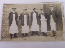Grandad, Alfred Neale, is second from the left on this photograph, taken at the Swift Motor Co. around 1910. | Photo courtesy of Richard Neale.