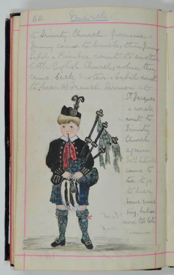 A drawing of a small boy in a kilt. | From Constance Linda Lucy's diary, Warwickshire County Record Office reference CR 4647.