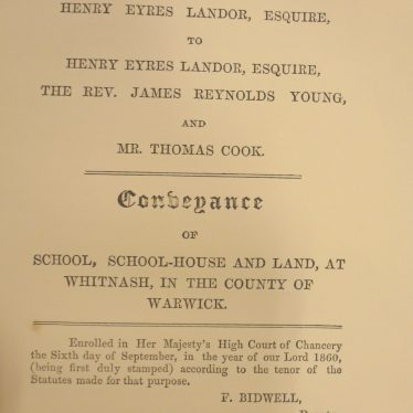 Title page of the Conveyance Deeds for Whitnash School, School-house and Land | Warwickshire County Record Office reference DR1123/6