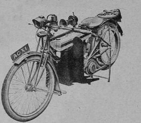 The Forfield combined front guard and footboard on a Triumph motorcycle. | Picture part of an article in 'Motor Cycle'  February 12th 1920, page 180.