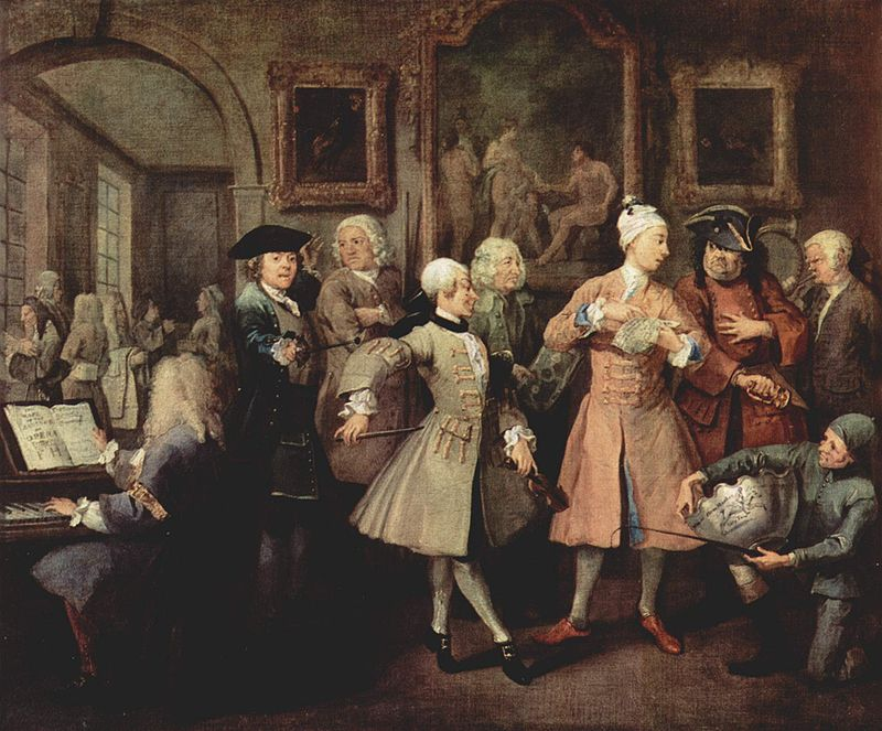 What Judith Dugdale feared may become of her son? 18th century fashion and living as satirised by Hogarth in 'The Rake's Progress'. | Painting by William Hogarth. Part of a collection of reproductions compiled by The Yorck Project and uploaded to Wikimedia Commons.