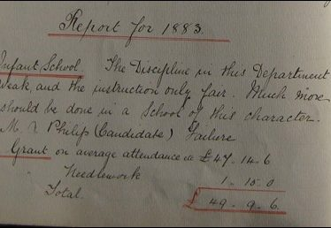 Alcester Infant School Inspector's Report 1883 | Picture supplied by Joy Pegrum