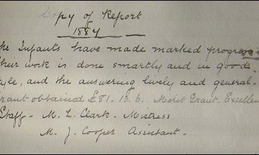 Alcester Infant School Inspector's Report 1887 | Picture supplied by Joy Pegrum
