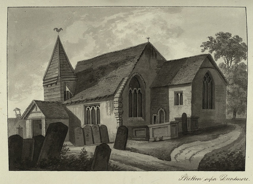 Stretton on Dunsmore's first church, c. 1820. | Part of the Aylesford Collection. Reproduced with the permission of the Library of Birmingham.
