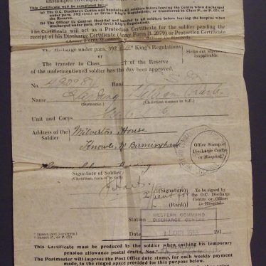 My Grandfather's Army Discharge Certificate, October 1918. | Image supplied by Chris Harding