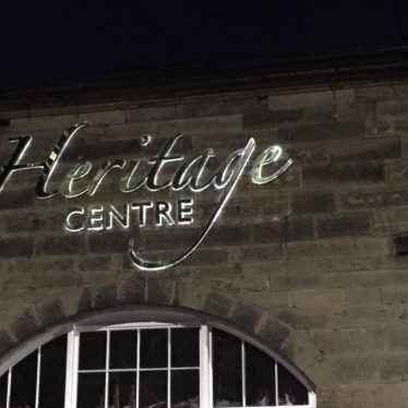 The new illuminated sign at the front of the heritage centre. | Image supplied by John Burton.