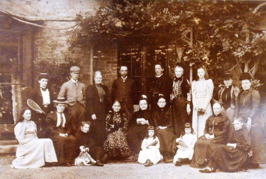 Photograph of 'Townsend family group at Kings Newnham' c.1892 William Henry Worth Townsend is stood fourth from the left, back row. | Warwickshire County Record Office, CR 4651/490