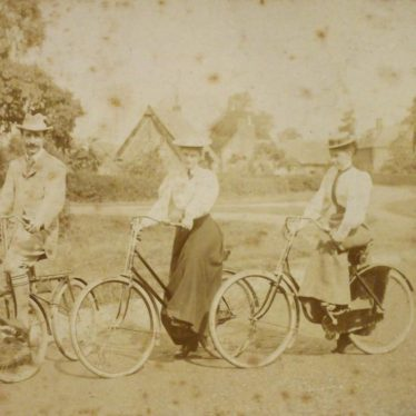 Gentleman and 2 ladies on bicycles in village [Kings Newnham] (probably Bertha and Maude Townsend), 1890s | Warwickshire County Record Office, CR4651/524