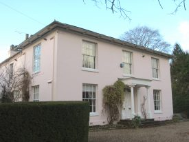 Late Georgian white stucco 2-storey house with porch   Anne Langley