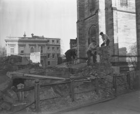 The Well House being demolished in November 1960. The above photograph is interesting not only because it shows the demolition of the Well House but also because it was obviously before the rise of the dreaded Health and Safety. If this was happening today there would have to be a fence around the site, warning notices etc., plus the guys doing the demolition would need hard hats, safety goggles, high visibility jackets etc. etc.!! | Warwickshire County Record Office reference PHN600/1960/2406-8