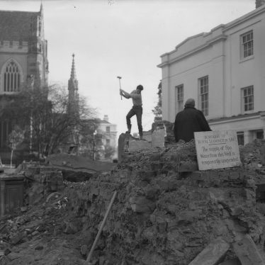 The Well House being demolished. perhaps the sign is just a little superfluous! | Warwickshire County Record Office reference PHN600/1960/2406-8