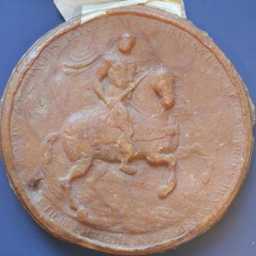 A soldier on horseback with a sword in his hand. The soldier's body is facing forward with their head twisted to look straight on. The text around the outside of this seal would have read: 'BRVNSWICE[NSIS] ET LUNEBURGEN[SIS] DUX SACRI ROMANI IMPERII ARCHITHESAURIUS ET PRINCEPS ELECTOR' (Of Brunswick and Luneburg, Duke, of the Holy Roman Empire, Arch-treasurer and Prince-Elector) | Warwickshire County Record Office reference CR1291/Box30/747.