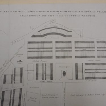A plan of 1825 for a proposed development of the area around what is now Christ Church Gardens. | Warwickshire County Record Office reference CR1247/25.