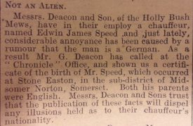 Edwin James Speed is not an Alien. newspaper article. | Nuneaton Chronicle, 30th October 1914, courtesy of Warwickshire County Record Office.