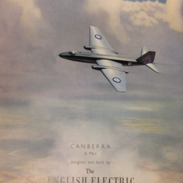English Electric Canberra advert. | Used with kind permission of Alstom Ltd. Warwickshire County Record Office reference CR4031.