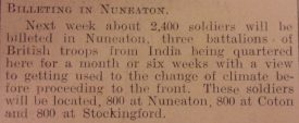Nuneaton Chronicle, 8th January 1915, Page 4, Column 3. | Courtesy of Warwickshire County Record Office.