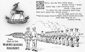Pen and ink type postcard of soldiers of the Warwickshire Regiment. 1910s. | Warwickshire County Record Office reference PH(N) 274/44