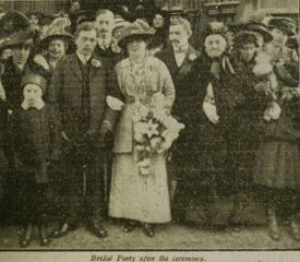 Bridal party after the ceremony. | Rugby Advertiser, 28th November 1914, page 3, courtesy of Warwickshire County Record Office.