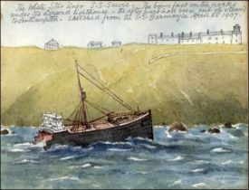 Coloured sketch of a wrecked hull of a ship just off the coastline. Titled,
