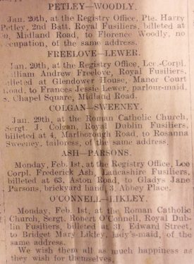 Weddings of Warwickshire Women to visiting Fusiliers Men in February 1915. Nuneaton Chronicle – 5th February 1915, Page 7, Column 3. | Courtesy of Warwickshire County Record Office.