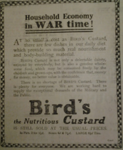 Bird's Custard advert 14th August 1918. | Courtesy of Warwickshire County Record Office.
