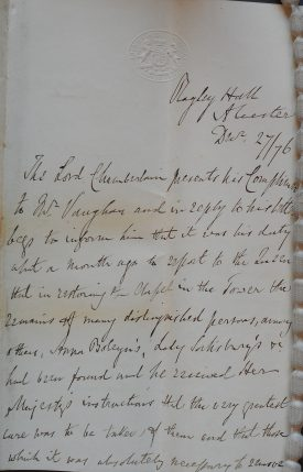 Letter from Ragley Hall on behalf of the Lord Chamberlain's Office to Mr Vaughan, page one. | Warwickshire County Record Office reference CR114A/674/3