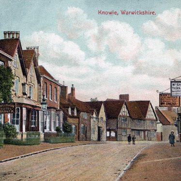 Knowle High Street looking south, early 20th cent., with the Greswolde Arms Hotel on the left. | From Knowle Local History Society Image Library