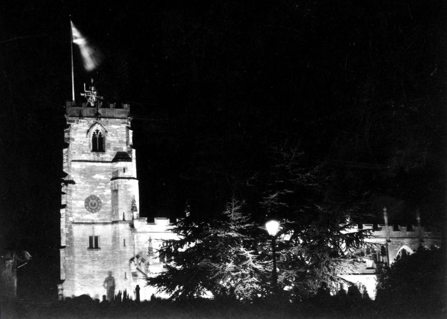 Knowle Parish Church floodlit on VE Night, 1945 | Photograph from Knowle Local History Society Image Library