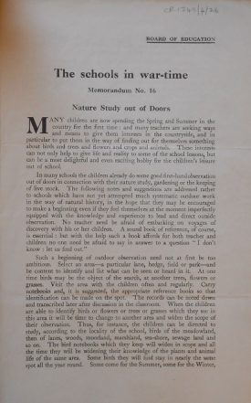 'The Schools in War-time' Memorandum 16 - Nature studies out of doors | Warwickshire County Record Office reference CR1348/4/26