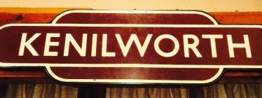 Old British Rail maroon station sign for Kenilworth | Kenilworth Rugby Club