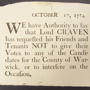 Lord Craven requests his friends and tenants not to vote... | Warwickshire County Record Office reference CR2963/2/4