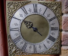 Face of thirty hour movement clock made by Christopher Holtum of Church Lawford 1742 | Keith Sinfield, 2015