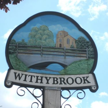 Sign on post with painting of the local Church, trees and a bridge over the brook | Anne Langley