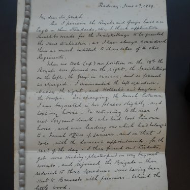 Sanderson Miller's Recollections of the Battle of Waterloo, page 1 | Warwickshire County Record Office reference CR1374/1/1