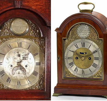 Daniel Dalton long-case clock, Christopher Holtum bracket clock. | Christopher Holtum clock image reproduced courtesy of Bruun Rasmussen.