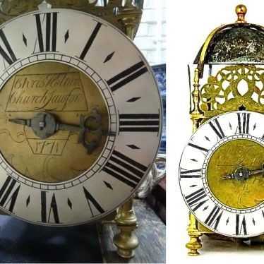A thirty hour lantern clock by Christopher Holtum of Church Lawford, 1771 and an Early lantern clock by the same maker. As Christopher died 14th May 1749 the date is not understood unless it was made by a son or grandson. | Image reproduced courtesy of Bruun Rasmussen.