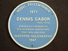Pale blue plaque: 'Nobel Prizewinner 1971 Dennis Gabor (1900-1979) Worked as a member of BTH Research Laboratory 1934-1948, and here invented Holography 1947' | Image courtesy of Jim Seward. Reproduced by kind permission of Alstom.