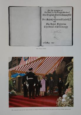 A brochure was produced to commemorate the visit. Also published was a booklet containing photographs and a list of the people presented to the Queen and Prince Philip. | Warwickshire County Record Office reference CR4031. by kind permission from Alstom Limited.