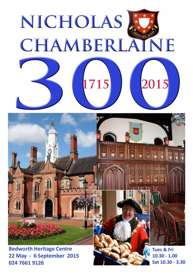 Nicholas Chamberlaine at 300. A poster celebrating events. | Bedworth Heritage Centre