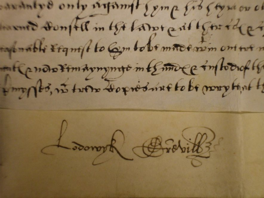 What a splendid signature! Ludovic Greville. Soome of the deed is also visible, setting the context.   Warwickshire County Record Office reference CR 2028/45/3/3