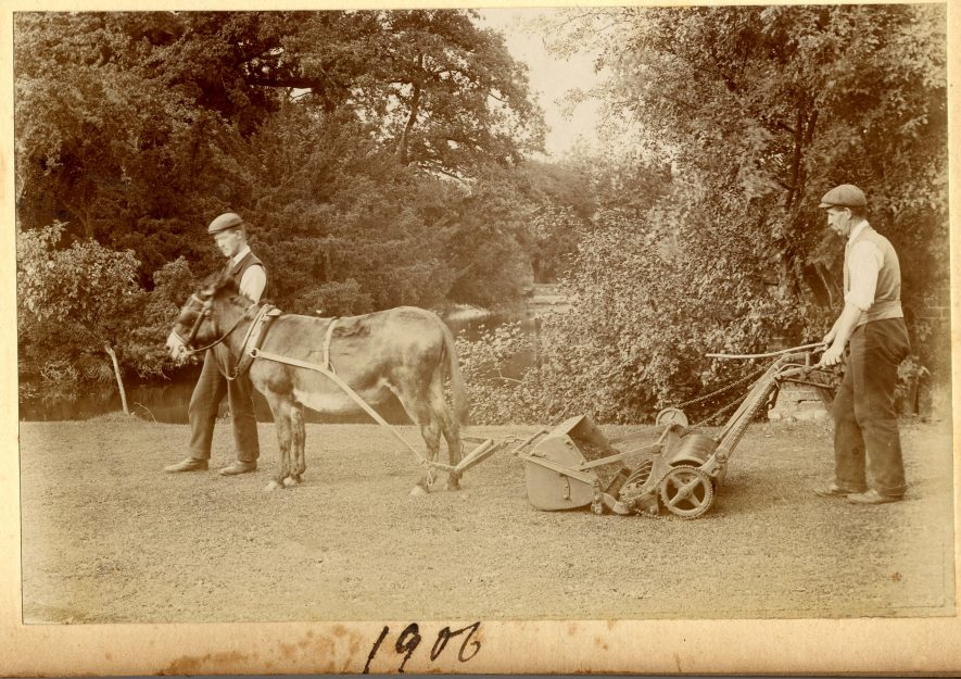 A lawn mower harnessed to a donkey, led by one man and guided by another. | Warwickshire County Record Office reference PH 1271/1/9