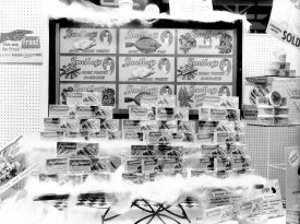 Display of frozen goods in shop window. | Warwickshire County Record Office reference  PH(N), 600/938/3.